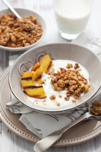 Grilled Peaches with Yogurt, Granola and Maple Drizzle